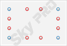 8 - Схема расположения точечных светильников на натяжном потолке