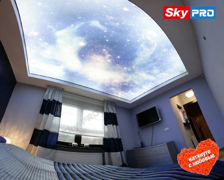 Натяжной потолок с подсветкой в спальне звездное небо